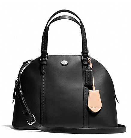 Coach Peyton Leather Cora Domed Satchel - Black F25671, 890, Handbags, Coach