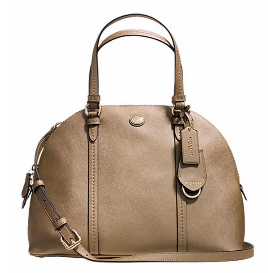 Coach Peyton Leather Cora Domed Satchel - Gold F25671, 820, Handbags, Coach