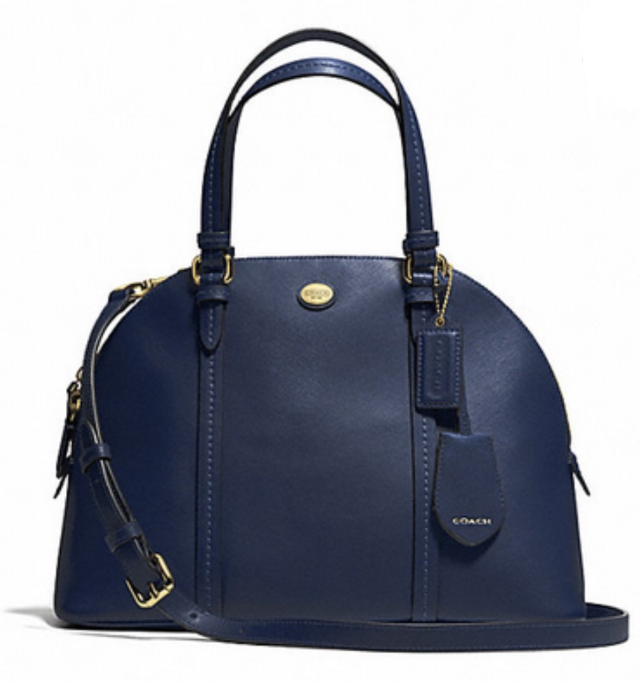 Coach Peyton Leather Cora Domed Satchel - Ink Blue F25671, 850, Handbags, Coach