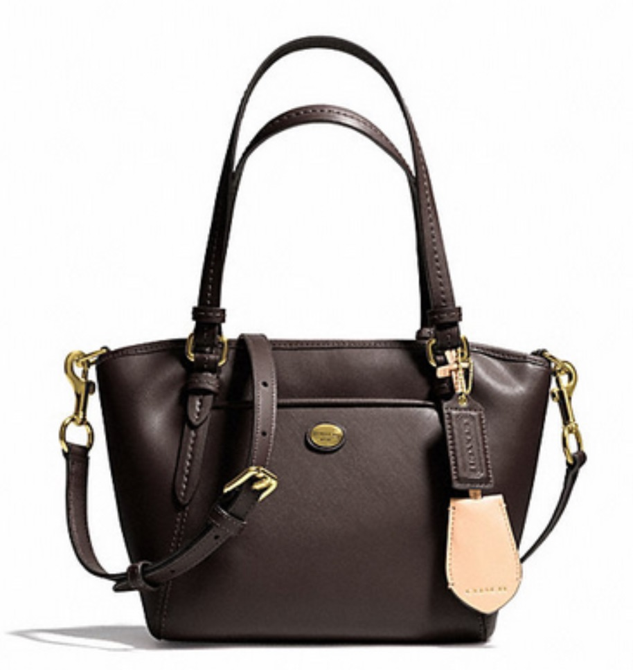 Coach Peyton Leather Mini Pocket Tote - Mahogany F26029, 620, Handbags, Coach
