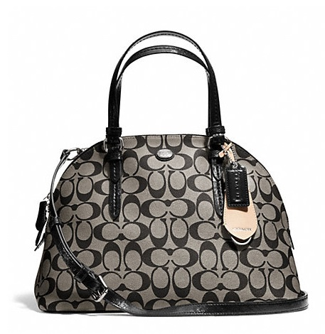 Coach Peyton Signature Cora Domed Satchel - Black White Black F24606, 850, Handbags, Coach