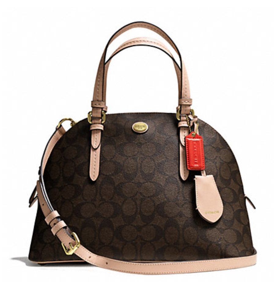 Coach Peyton Signature Cora Domed Satchel - Brown Tan F26184, 850, Handbags, Coach