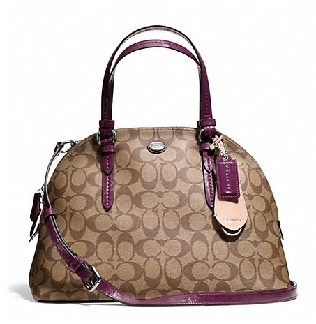Coach Peyton Signature Cora Domed Satchel - Khaki Plum F24606, 850, Handbags, Coach