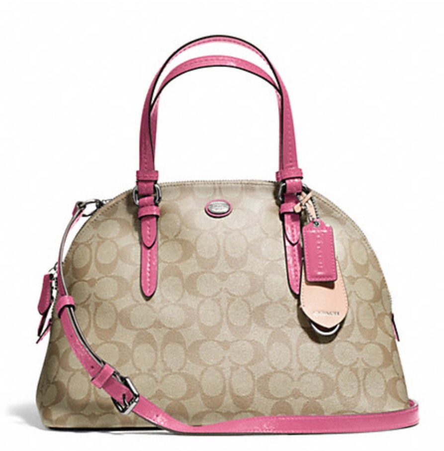 Coach Peyton Signature Cora Domed Satchel - Light Khaki Strawberry F24606, 730, Handbags, Coach