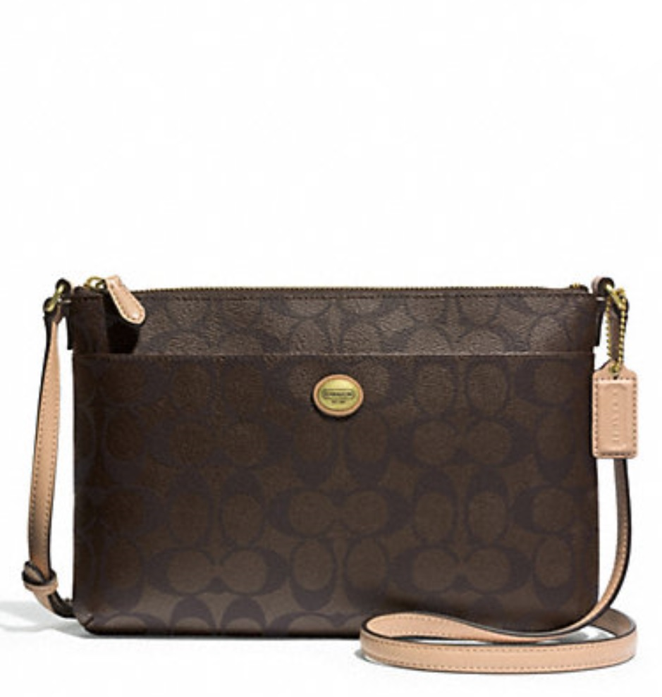 Coach Peyton Signature East West Swingpack - Brown Tan F51366, 530, Handbags, Coach
