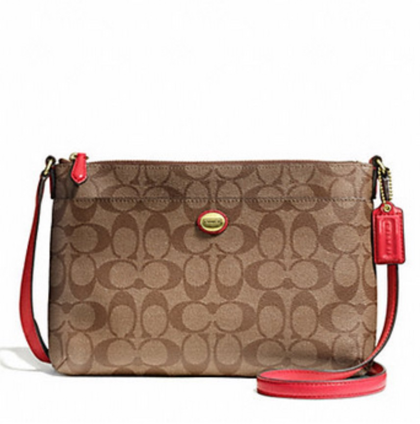 Coach Peyton Signature East West Swingpack - Khaki Persimmon F51065, 520, Handbags, Coach