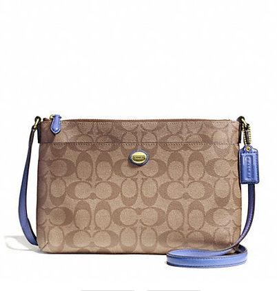 Coach Peyton Signature East West Swingpack - Khaki Porcelain Blue F51065, 480, Handbags, Coach