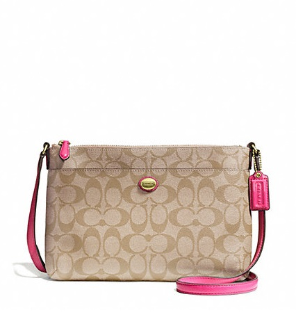 Coach Peyton Signature East West Swingpack - Light Khaki Pomegranate F51065, 480, Handbags, Coach