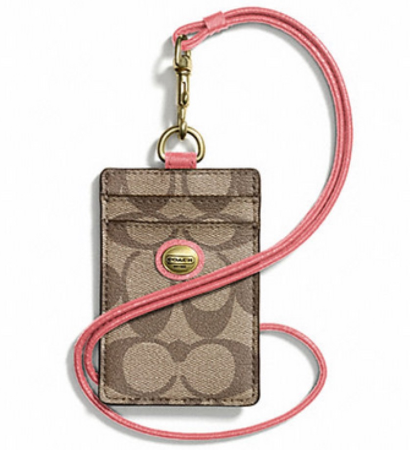 Coach Peyton Signature Lanyard ID Case - Khaki Coral F68661, 180, Accessories, Coach