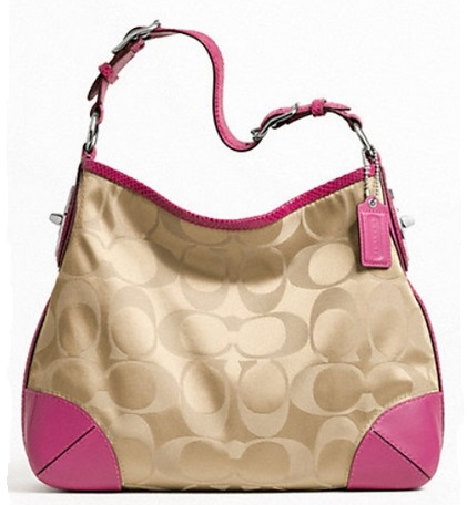Coach Peyton Signature Sateen Shoulder Bag - Khaki Fuchsia F23765, 750, Handbags, Coach