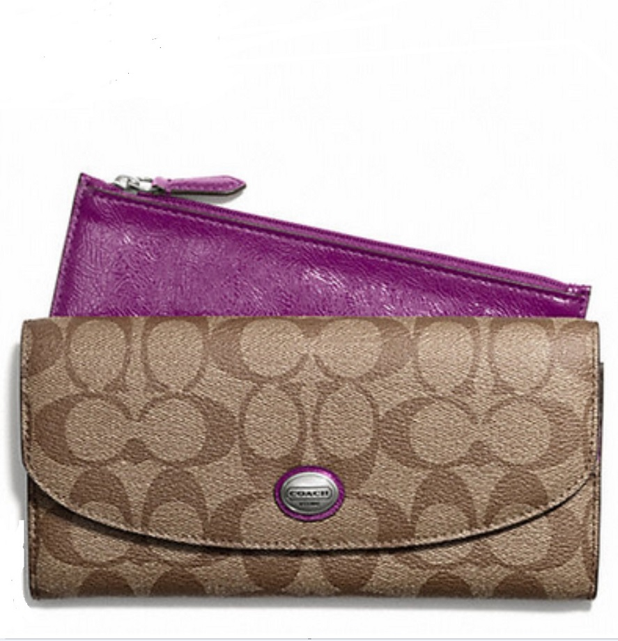 Coach Peyton Signature Slim Envelope Wallet with Pouch - Khaki Plum F49154, 490, Wallets, Coach