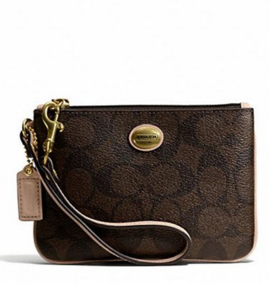 Coach Peyton Signature Small Wristlet - Brown Tan F50182, 220, Wristlets, Coach