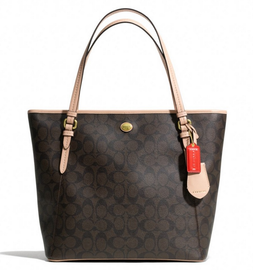 Coach Peyton Signature Zip Top Tote - Brown Tan F28365, 750, Handbags, Coach