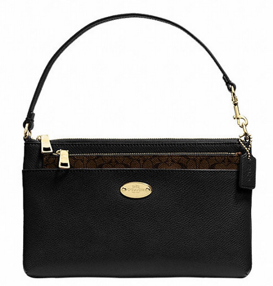 Coach Pop Up Pouch In Crossgrain Leather - Black F52598, 420, Wristlets, Coach