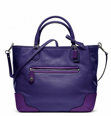 Coach Poppy Colorblock Leather Small Blaire Tote - Bright Orchid 25057, 890, Handbags, Coach