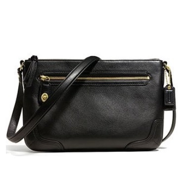Coach Poppy East West Swingpack in Leather - Black 49970, 490, Handbags, Coach