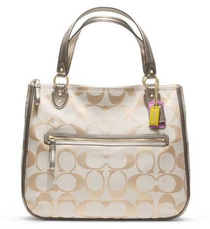 Coach Poppy Signature Metallic Hallie Tote - Champagne Bronze 22447, 670, Handbags, Coach