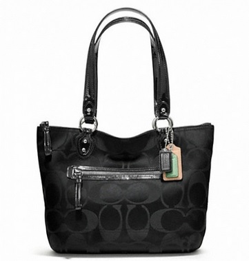 Coach Poppy Signature Sateen Small Tote - Black F23522, 620, Handbags, Coach