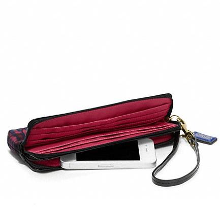 Poppy Double Zip Wallet Coach Poppy Tartan Double Zip
