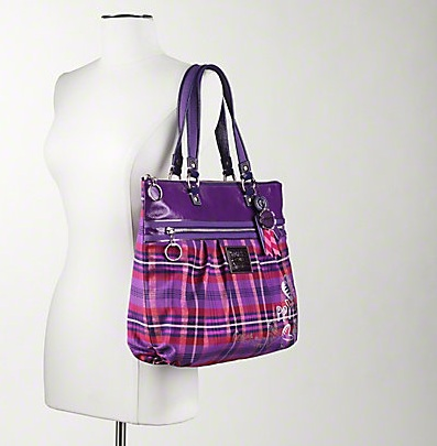 Coach Poppy Tartan Glam Tote - Berry Multicolor 15886, 730, N/A, N/A