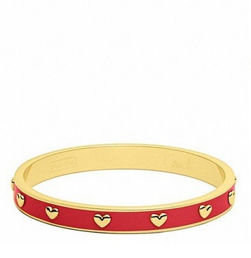 Coach Quarter Inch Nail Head Bangle - Gold Red F94026, 220, Jewelry, Coach