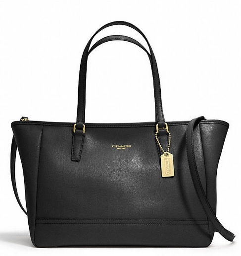 Coach Saffiano Crossbody City Tote - Black 23578, 1020, Handbags, Coach
