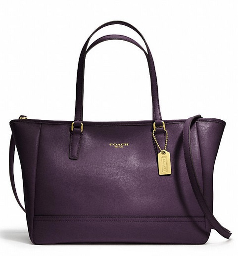 Coach Saffiano Crossbody City Tote - Black Violet 23578, 1020, Handbags, Coach