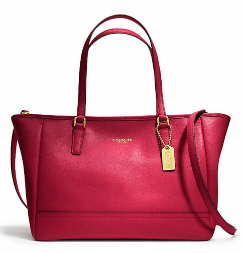 Coach Saffiano Crossbody City Tote - Scarlet 23578, 1020, Handbags, Coach