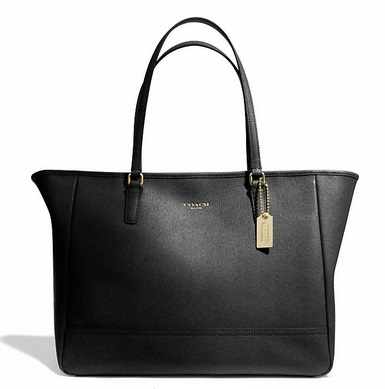 Coach Saffiano Medium City Tote - Black 23576, 850, Handbags, Coach
