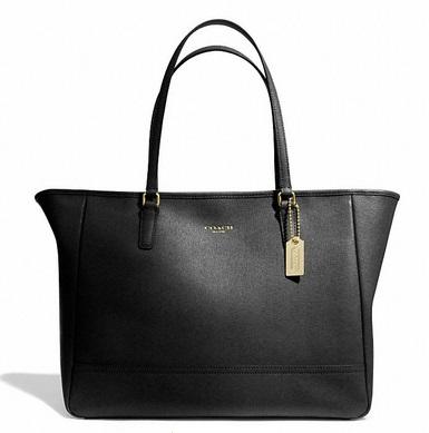 Coach Saffiano Medium City Tote - Black 23576, 850, Handbags, Coach