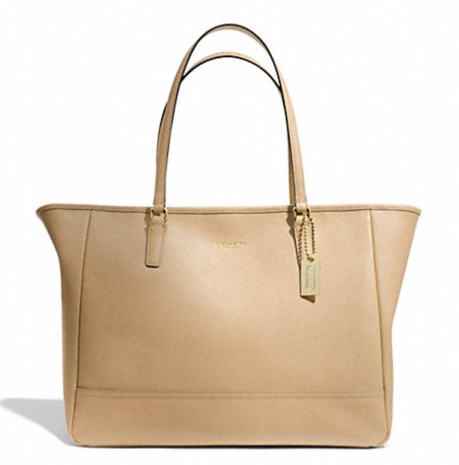 Coach Saffiano Medium City Tote - Tan 23576, 850, Handbags, Coach