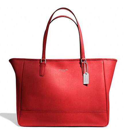 Coach Saffiano Medium City Tote - Vermillion 23576, 850, Handbags, Coach