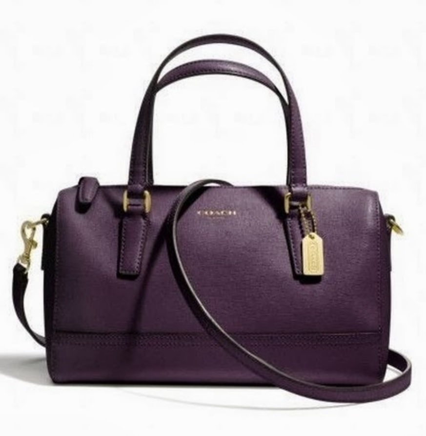 Coach Saffiano Mini Satchel - Black Violet 49392, 670, Handbags, Coach