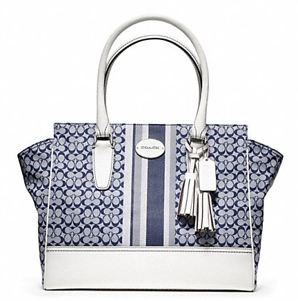 Coach Signature Stripe Medium Candace Carryall - Navy Ivory 24206, 890, Handbags, Coach