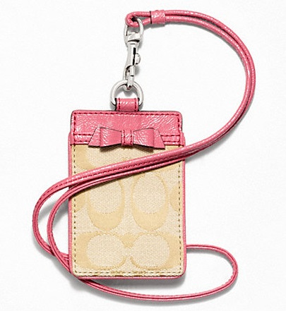 Coach Signature Bow Lanyard ID Case - Light Khaki Coral F64191, 180, Accessories, Coach