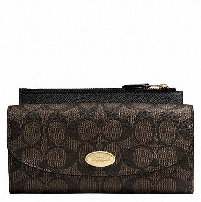 Coach Signature Canvas Pop Slim Envelope Wallet - Brown Black F52601, 520, Wallets, Coach
