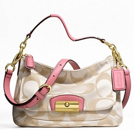 Coach Signature East-West Crossbody Bag - Cream Light Khaki Rose F22302, 600, Handbags, Coach