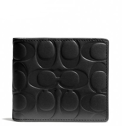 Coach Signature Embossed Leather Compact ID Wallet - Black F74686, 460, Men Wallets, Coach