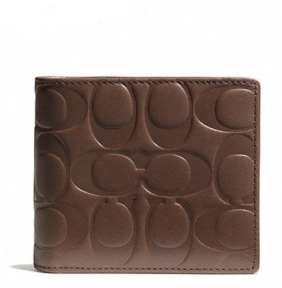 Coach Signature Embossed Leather Compact ID Wallet - Tobacco F74686, 460, Men Wallets, Coach