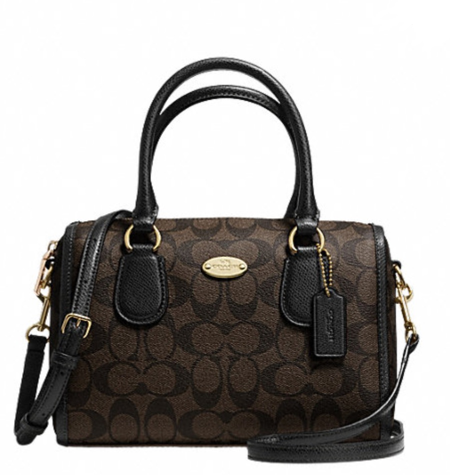 Coach Signature Mini Bennett Satchel - Brown Black F34084, 770, Handbags, Coach