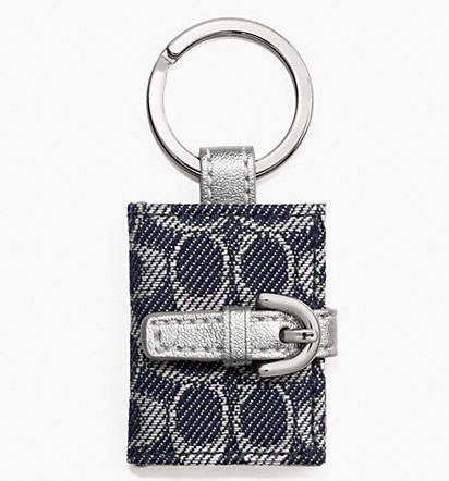 Coach Signature Picture Frame Key Ring - Denim Silver F61848, 140, Accessories, Coach