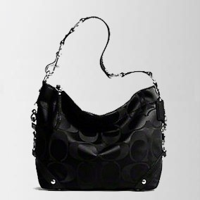 Coach Signature Sateen Carly - Black 15250, 820, Carly Collection, Coach