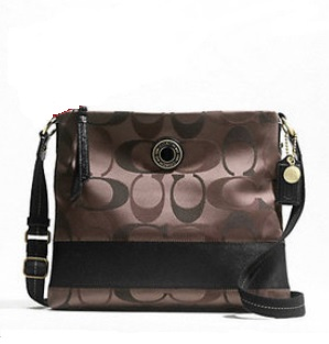 Coach Signature Stripe 3 Color Signature File Bag - Brown Multi F20061, 570, Handbags, Coach