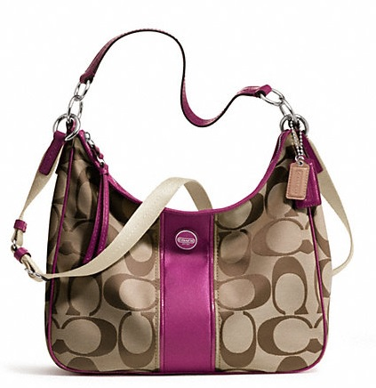 Coach Signature Stripe Convertible Hobo - Khaki Passion Berry F21873, 670, Handbags, Coach