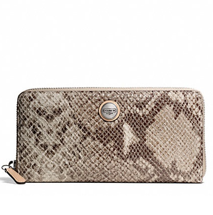 Coach Signature Stripe Embossed Exotic Accordion Zip Wallet - Natural F50542, 570, Wallets, Coach