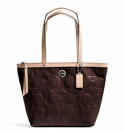 Coach Signature Stripe Embossed Patent Tote - Brown Tan F25187, 650, Handbags, Coach