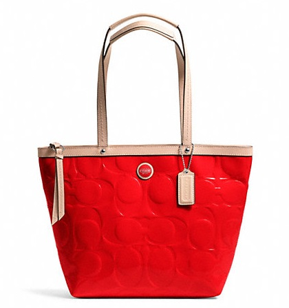 Coach Signature Stripe Embossed Patent Tote - Vermillion Tan F25187, 650, Handbags, Coach