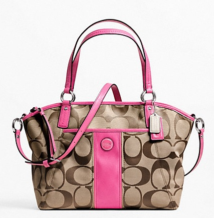 Coach Signature Stripe Pocket Tote - Khaki Mulberry F21899, 690, Handbags, Coach