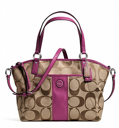 Coach Signature Stripe Pocket Tote - Khaki Passion Berry F21899, 690, Handbags, Coach