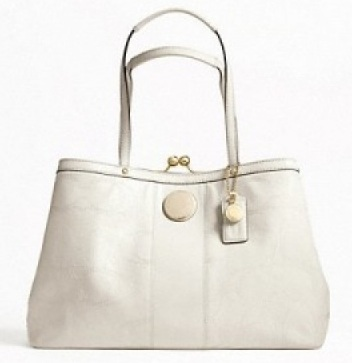 Coach Signature Stripe Stitched Patent Framed Carryall - Ivory F19215, 780, Handbags, Coach